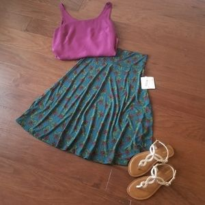 LuLaRoe Red and Teal Floral Azure Skirt NWT